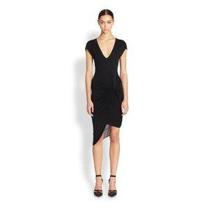 Helmut Lang asymmetrical knotted jersey dress - xs